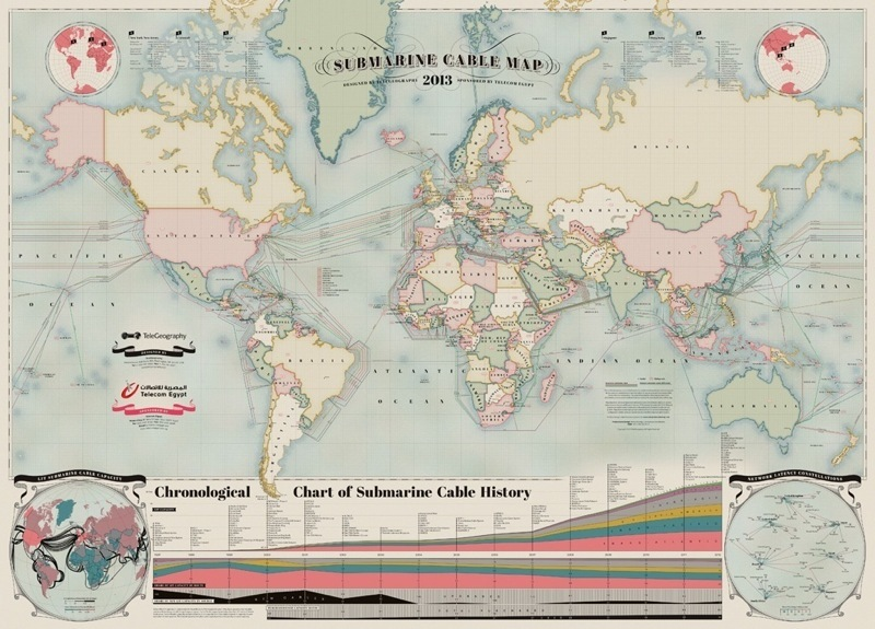 Submarine cable map depicting 244 cable systems that are currently active or due to enter service by 2014. Courtesy of TeleGeography