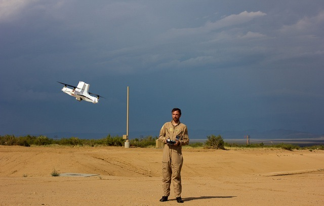 Liam Young flying an X Drones on the runway at Spaceport America, Jornada del Muerto, New Mexico. USA. August 2012. Photo by Pete Woodhead