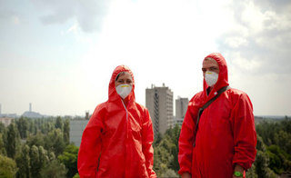 Liam Young, pictured at Chernobyl, during Unknown Fields Division expedition. Photo by Jonathan Gales.