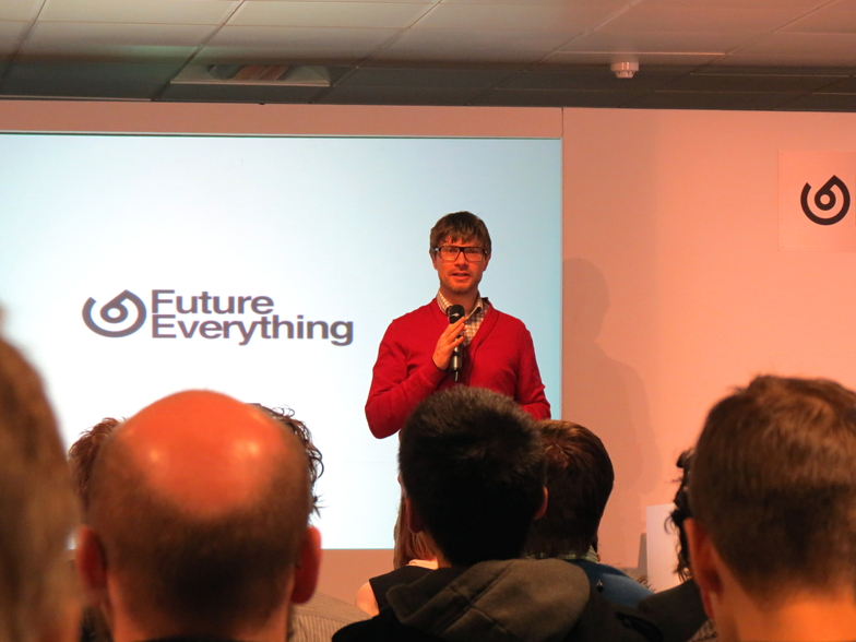 Drew Hemment, Director of FutureEverything, introducing this year's conference. (c) Justin Pickard 2013