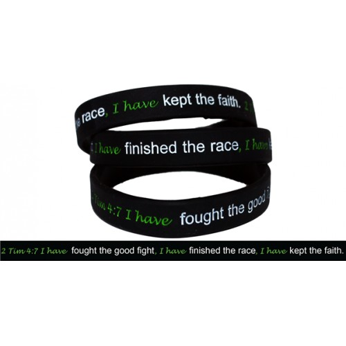2 timothy 4 7 silicone strength debossed wristband
