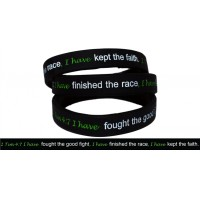 photo of 10 Silicone Strength debossed wristband Bracelets 2 Timothy 4:7 Christian -