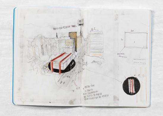 """""""Sketch"""" de Marcius Galan é uma das obras em cartaz na exposição"""