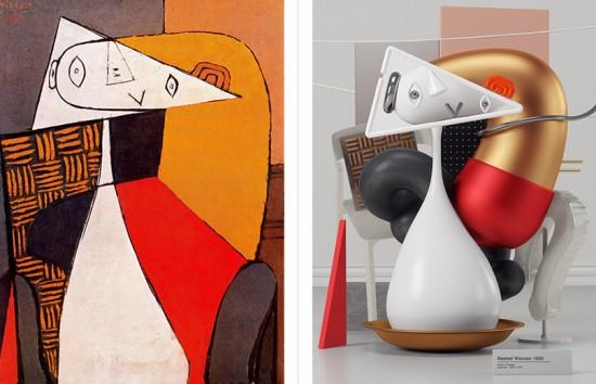 """""""Seated Woman"""", de 1930, do Picasso recriada por Aqil Omar em 3D! Vem ver mais"""