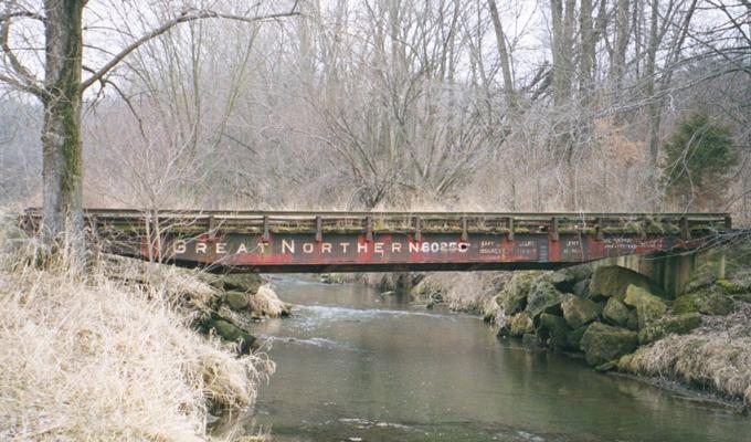 Old Reading Flatcar Foot Bridge W Stone Piers 2