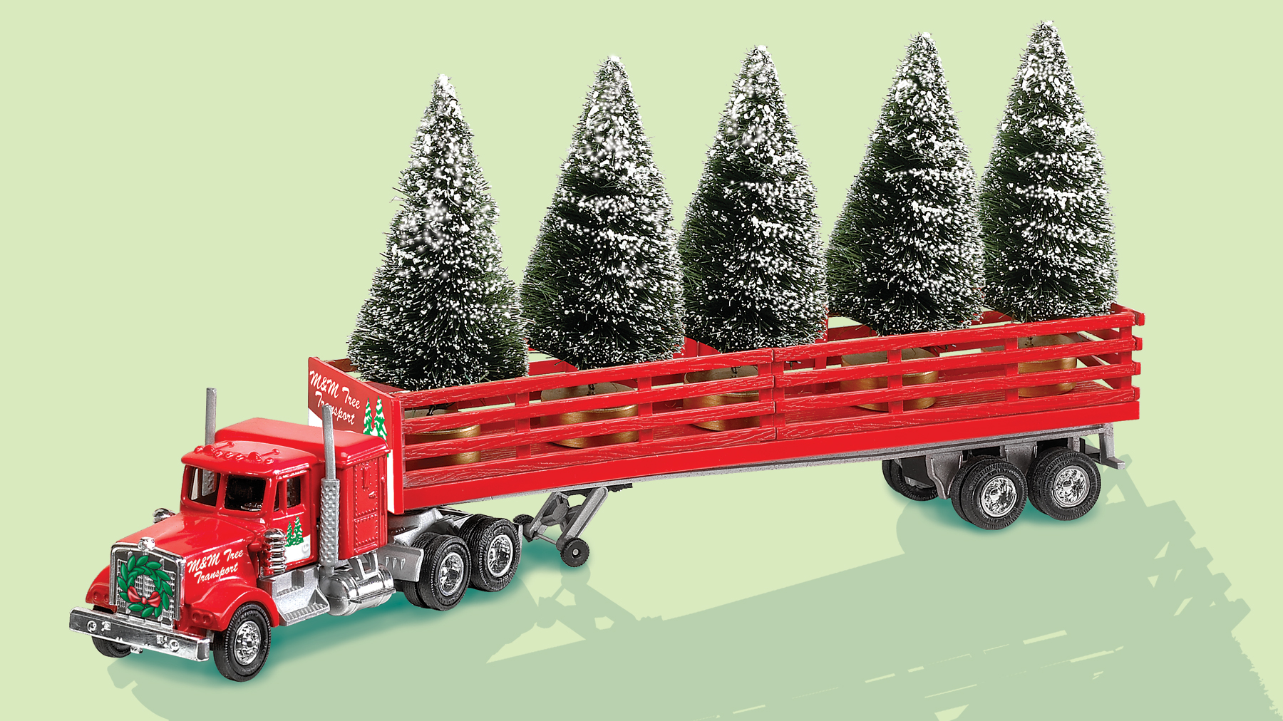Christmas Tractor and Trailer with Trees