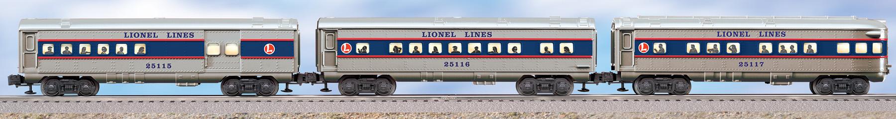 Lionel Lines O27 Streamlined Passenger Car 3 Pack