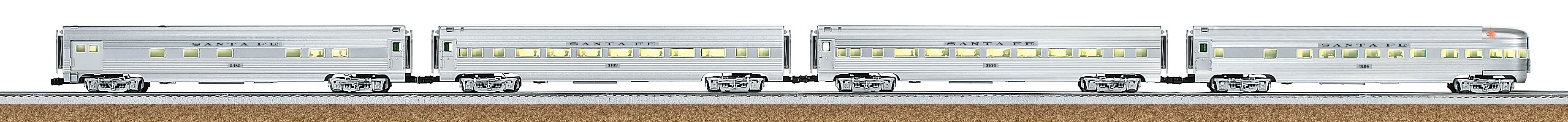 santa fe el capitan 18 aluminum streamlined passenger car 4 pack. Black Bedroom Furniture Sets. Home Design Ideas