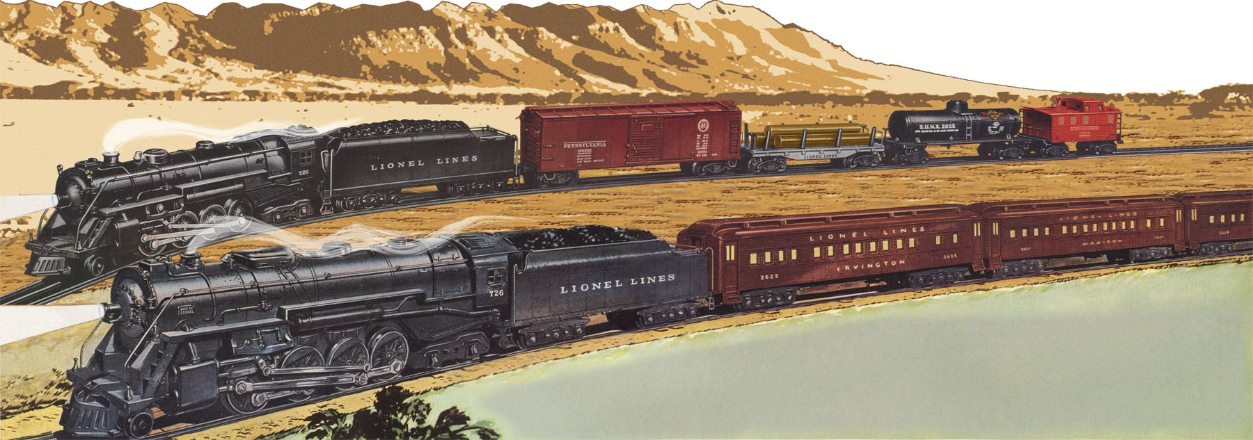2 LIONEL PART- 726-109 ORIGINAL- NEW-H30 BERKSHIRE 726//736 HANDRAILS