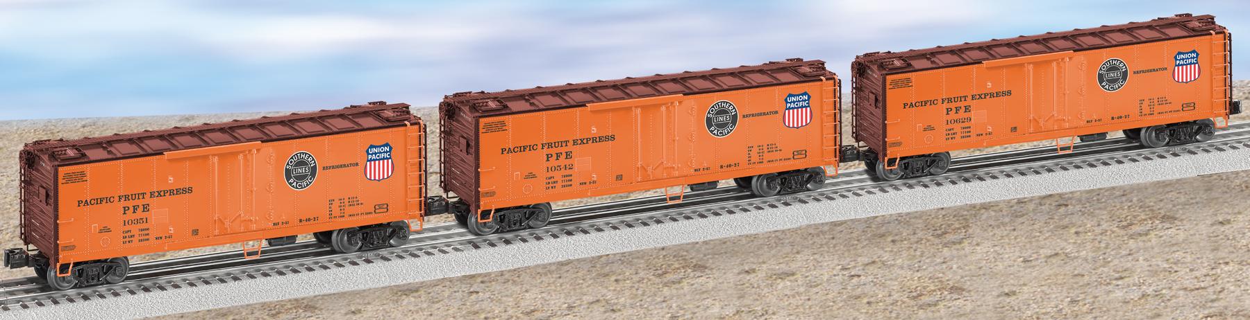 pacific fruit express steel sided refrigerator car 3 pack orange set 3. Black Bedroom Furniture Sets. Home Design Ideas