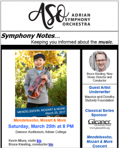 Adrian Symphony Orchestra - Symphony Notes
