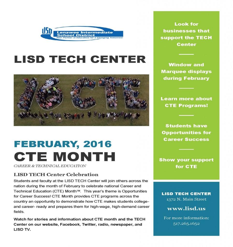 Flyer for CTE (Career Technical Education) Month (February).