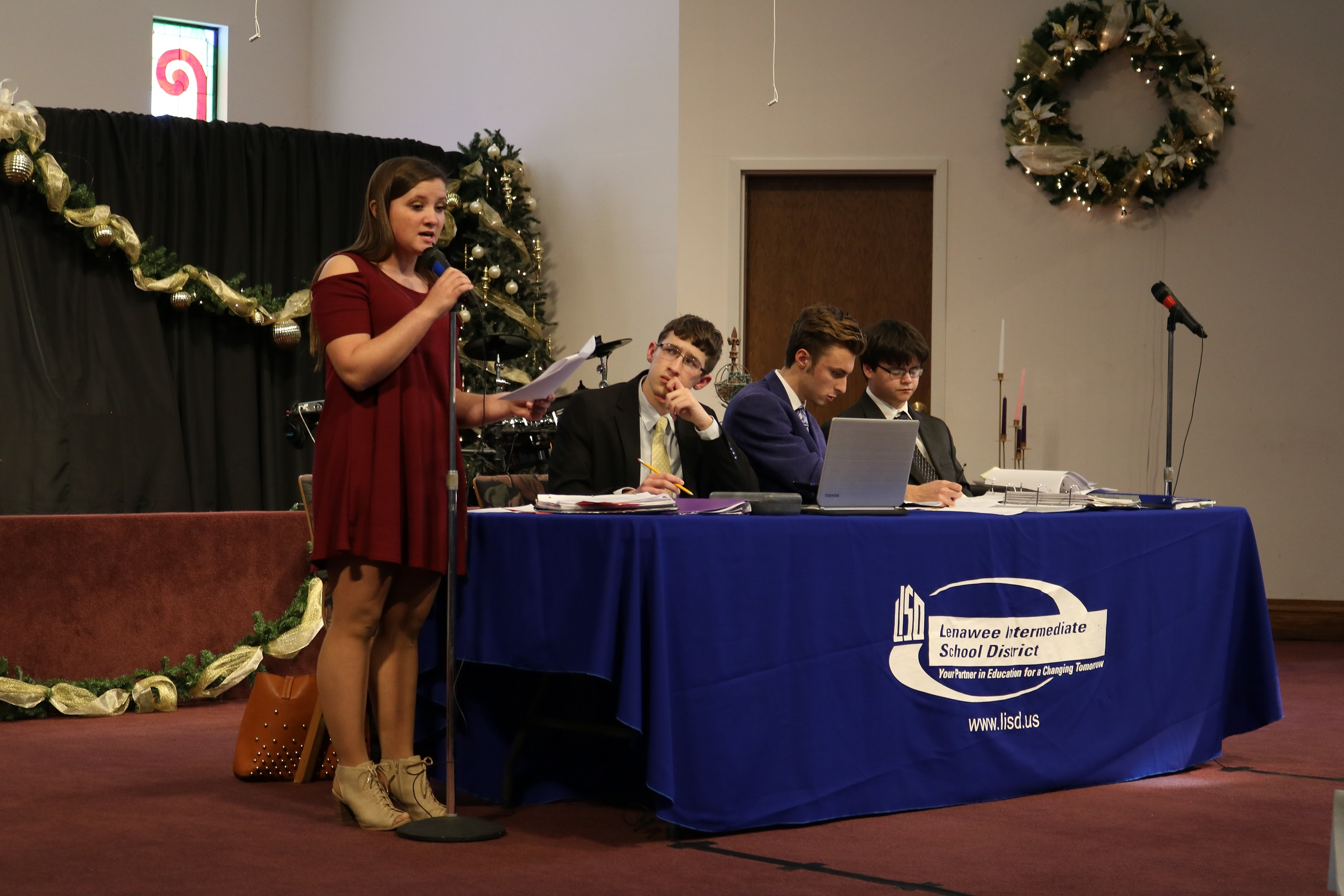 Lenawee Christian student, Halie Lacy defends her affirmative case in the final Varsity debate.
