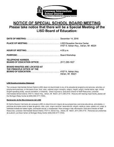 Notice of LISD Special Board of Education Meeting on December 14, 2016, 4:00 p.m.