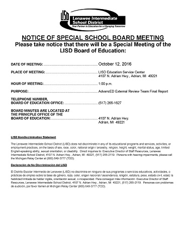 Notice of Special Board Meeting on October 12, 2016