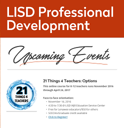 Upcoming Professional Development Opportunities - Contact Kathy Campbell at 265-1619 for info.