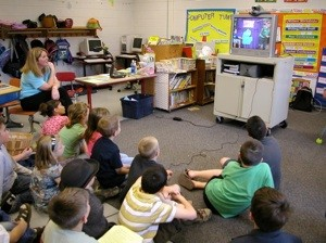 image of students engaged in a videoconference