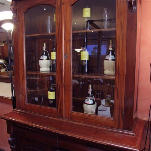 Inside restaurant wine cabinet