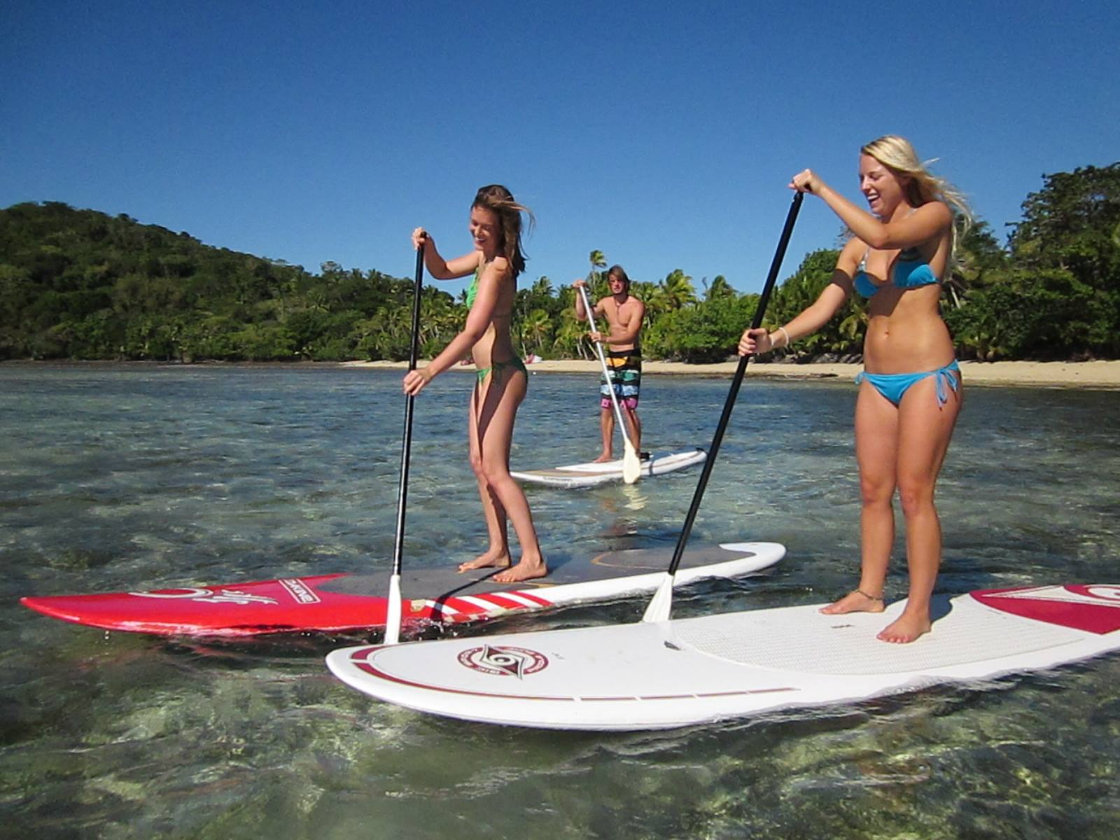 Paddle boarding from the Back beach at Macdonalds Fiji