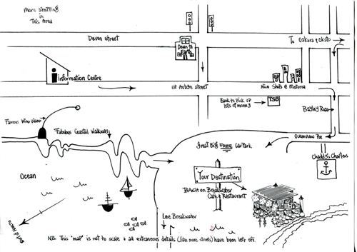 Map to Bach on Breakwater
