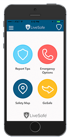 LiveSafe campus safety app screen
