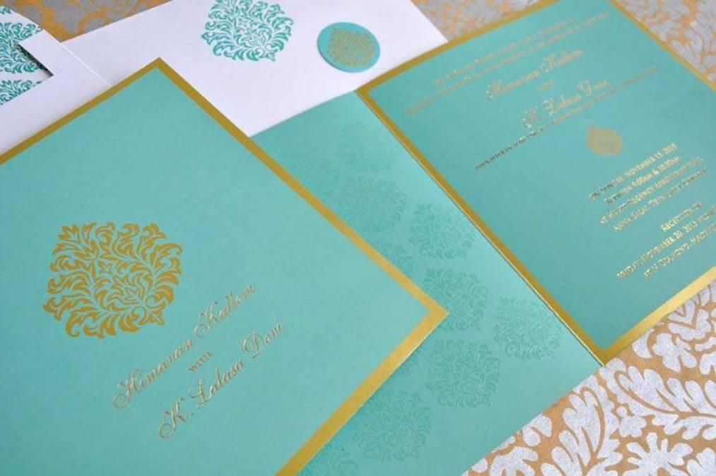 Wedding Invite - Damask Blue