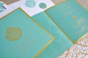 Wedding Invite - Damask Blue