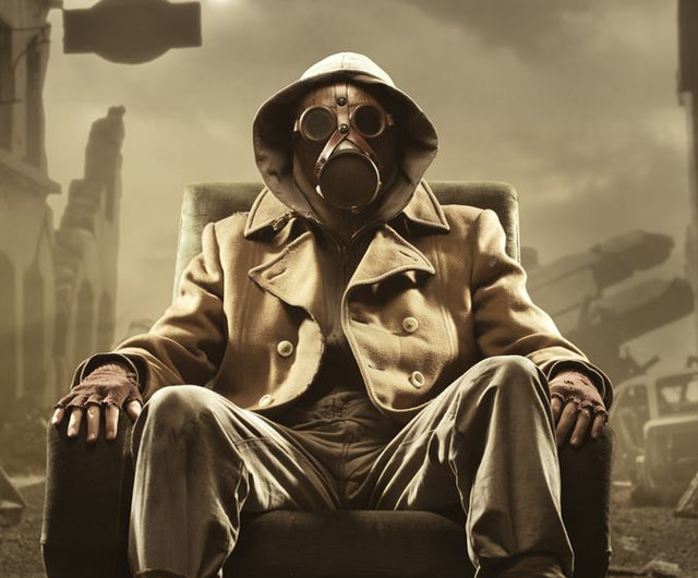 Representation of Doomsday Prepper in gas mask