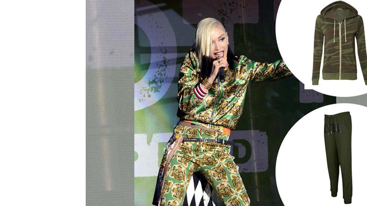 Gwen Stefani (No Doubt): Carbon 38 Adrian Hoodie + Adidas Camo Hip Hop Track Pants