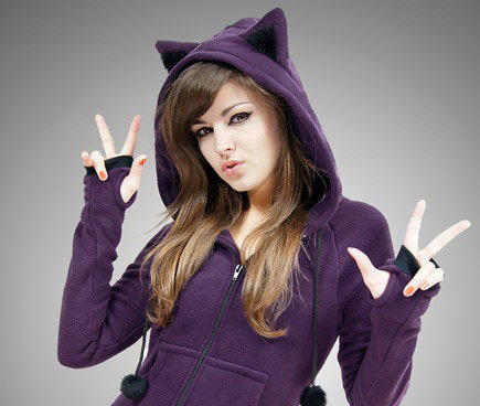 Cat Ears hoodie in violet: Because Katy dresses up like a cat all the time!
