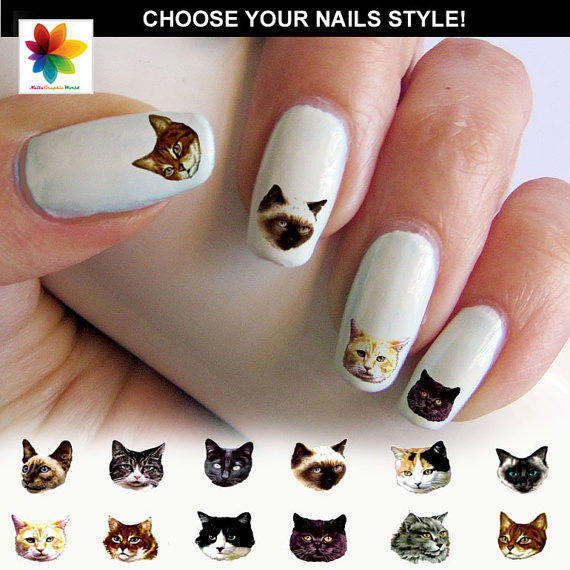 "Kitten nail decals: Give them a PURRfect Katy-esque manicure! (Google ""Katy Perry nail art"" and you'll see what we're talking about.)"