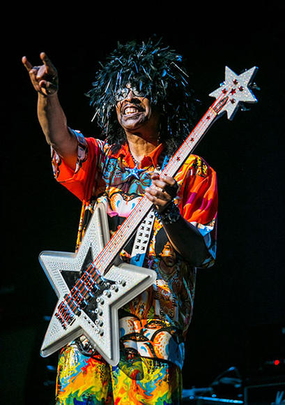 Bootsy Collins - There's much more to Bootsy Collins than his great hats and star-shaped sunglasses: his 45 year long music career has included performing with James Brown and Parliament Funkadellic, as well as being inducted into the Rock and Roll Hall of Fame. No disrespect to his hats, of course, it's just hard to top that.
