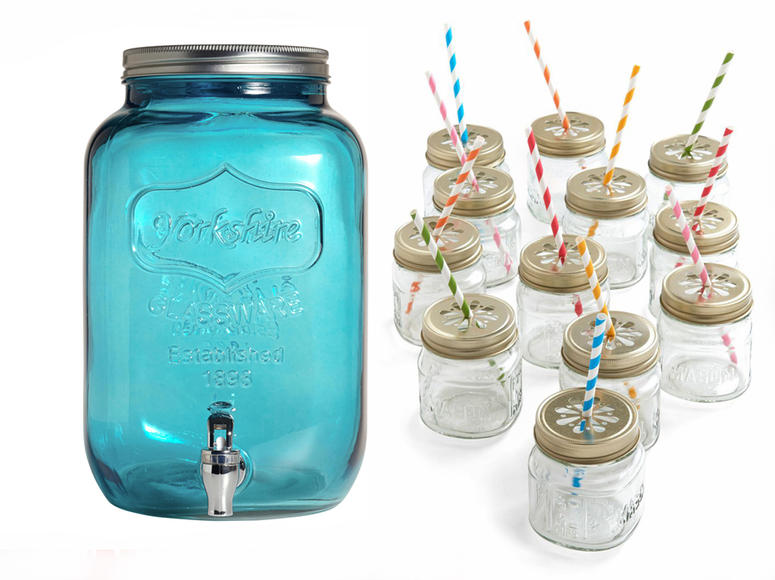 Glass Dispenser + Glass jars: Every barbecue calls for some ice cold lemonade.