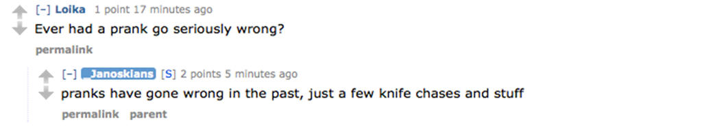6. Knife chases? NBD.