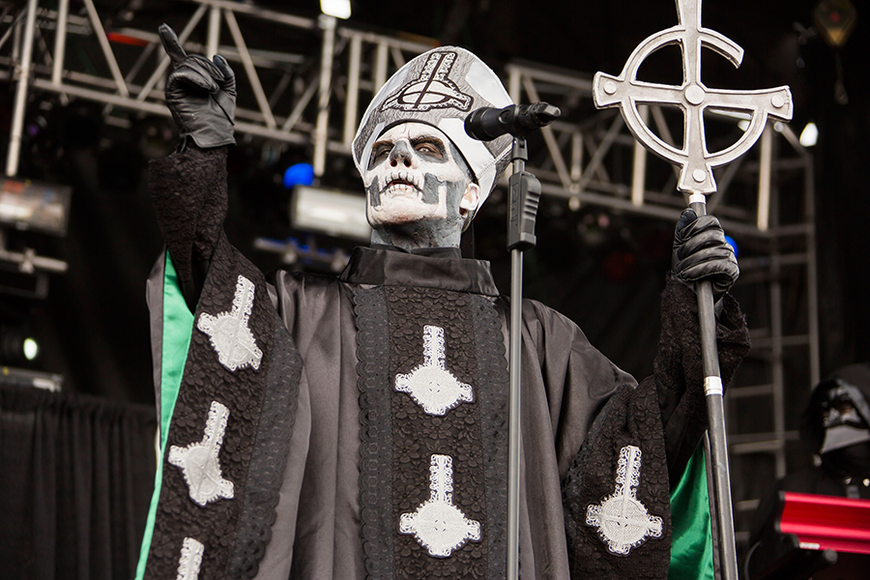 GHOST: Anonymity is crucial to this doom metal band. Their lead singer is dressed as Death.