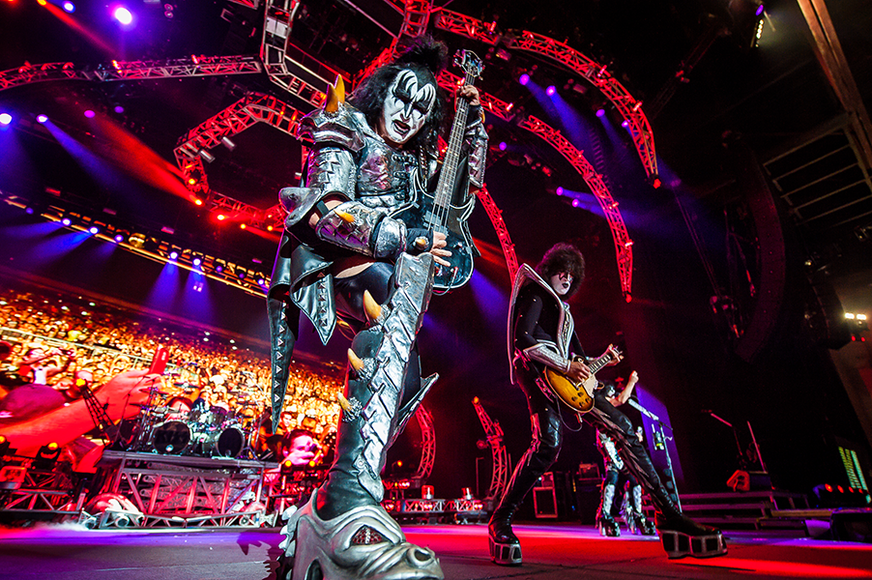 KISS: Lead singer Gene Simmons once used his trademark tongue to make out with a fan in the front row.