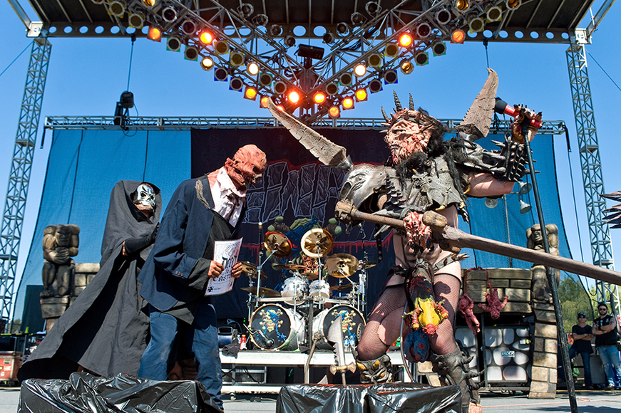 "GWAR: The costumed metal act is known for covering their audience in ""blood"" and having on stage ""beheadings."""