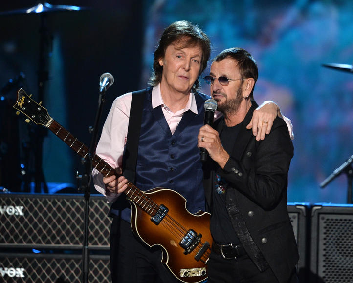 "The Beatles: Paul McCartney and Ringo Starr performed together to commemorate the legacy that is The Beatles. Joined by a handful of amazing artists throughout the night, the two last ""Beatles"" sang ""Queenie Eye"" before an interview with David Letterman."