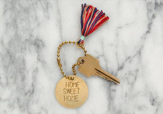 Home sweet home brass keychain