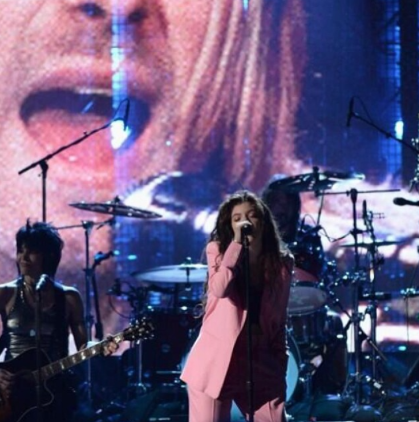 "She performed ""All Apologies"" with Nirvana at their Rock Hall of Fame induction ceremony."
