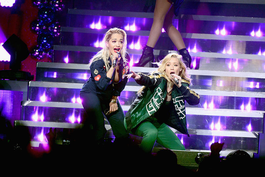 Iggy Azalea and Rita Ora at HOT 99.5's Jingle Ball 2014 in Washington, D.C.