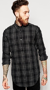ASOS Longline Shirt With Overhead Styling And Check
