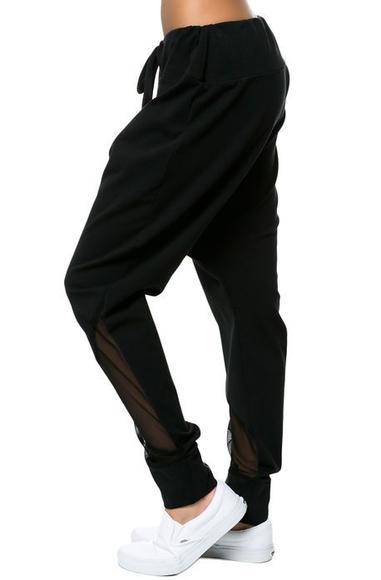Black Mesh Detail Drop Crotch Joggers