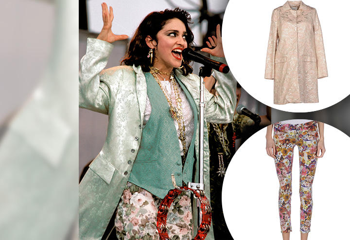 Floral pants and brocade jacket