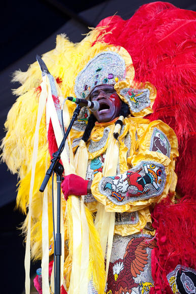 Mardi Gras indian performer