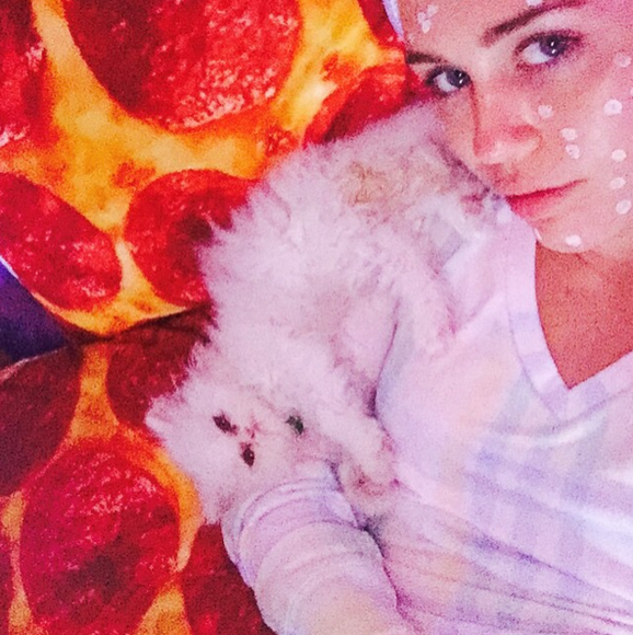 Miley's 2015 started off pretty quiet, but a pizza bedspread will always get people talking!