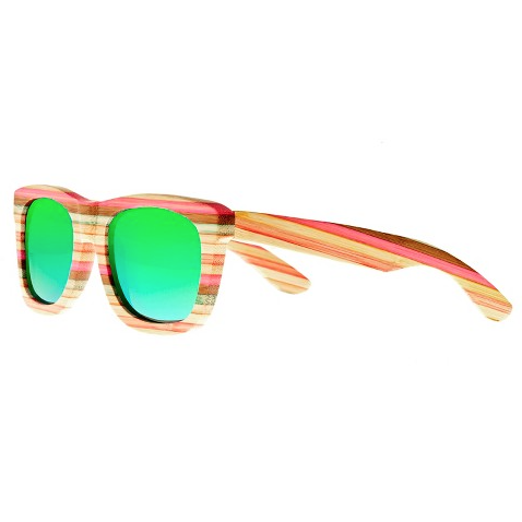Earth wood delray sunglasses with green lens