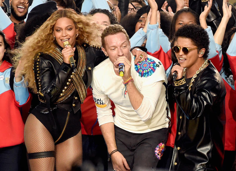 Beyoncé, Coldplay, and Bruno Mars