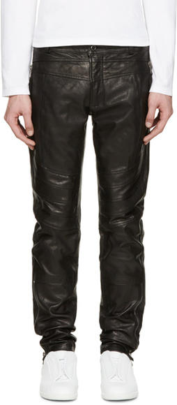 EVIL IN THE NIGHT: Diesel black leather biker pants