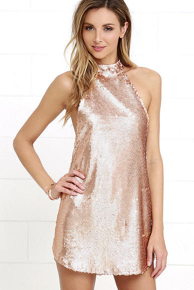 Nightwalker Point Break Matte Rose Gold Sequin Mini Dress